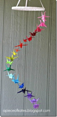 Rainbow Origami Crane Mobile from A Piece of Kate's