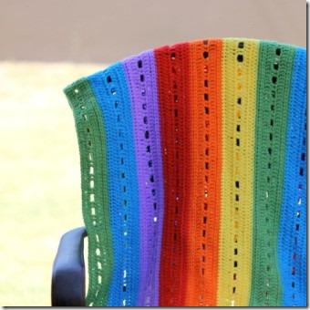 狡猾木乃伊的彩虹条纹钩针编织毯子