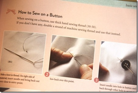 How to sew on a button from Sewing for your Girls