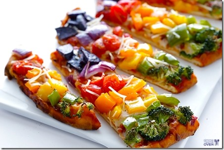 Gimme的彩虹蔬菜素薄面包披萨