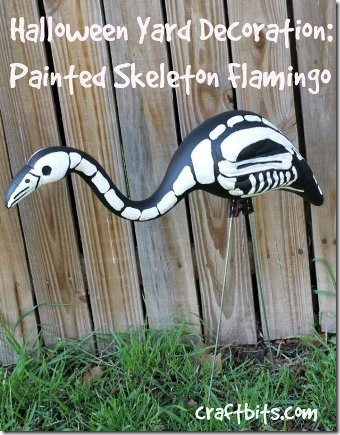 Painted Skeleton Flamingo by Craftbits