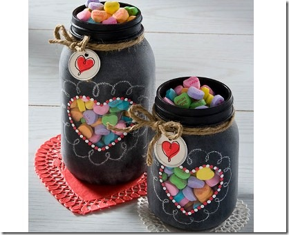 Valentine Chalkboard Mason Jars from Plaid