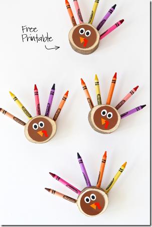 DIY蜡笔火鸡从分页超级妈妈