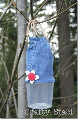 Yogurt Tub and Jeans Drawstring Bag - Crafty Staci 10