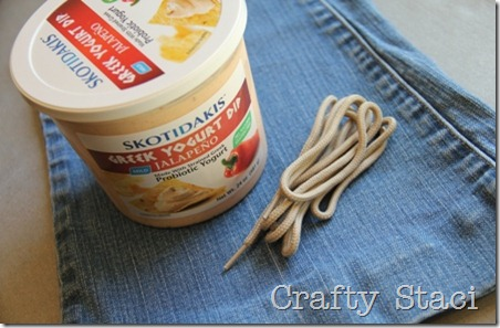 Yogurt Tub and Jeans Drawstring Bag - Crafty Staci 1