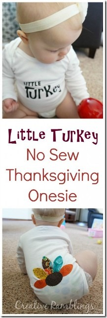 来自Creative Ramblings的Little Turkey感恩节Onesie
