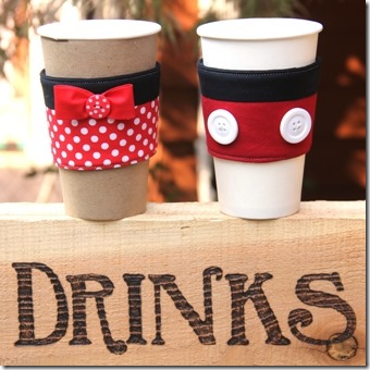 Mickey and Minnie Coffee Cup Sleeves - Crafty Staci