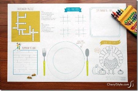Cheryl风格的可打印感恩节餐垫