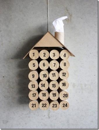 早上创意的卫生纸卷圣诞节日历