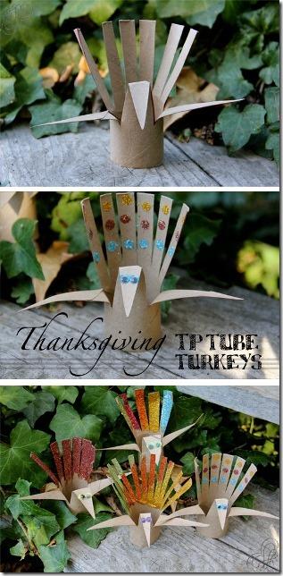 来自一个女孩和一个男孩的感恩节TP Tube Turkeys