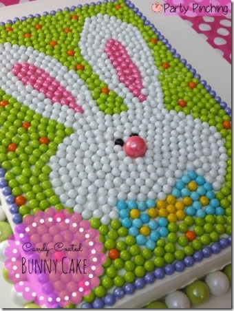 Candy Coated Easter Bunny Cake from Party Pinching