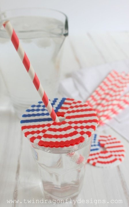 Patriotic Perler Bead Cup Covers from Twin Dragonfly Designs