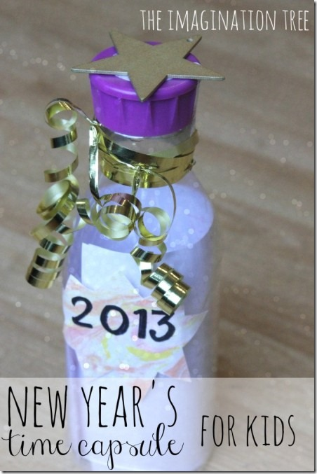 想象力树的孩子们的新年时间胶囊