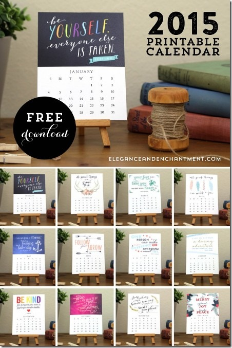 2015 Printable Calendar from Elegance and Enchantment