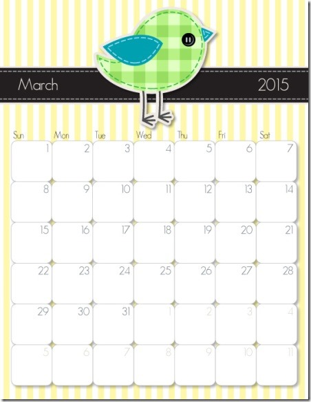 2015 Printable Calendar from iMom