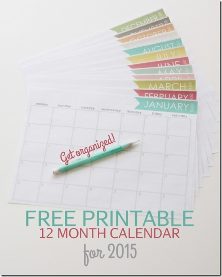 2015 Printable Calendar from Landeelu