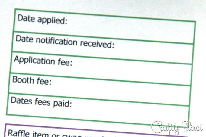 Craft Show Tracking Sheet Application and Fees