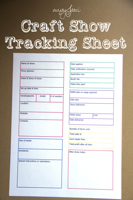 Craft Show Tracking Sheet Crafty Staci