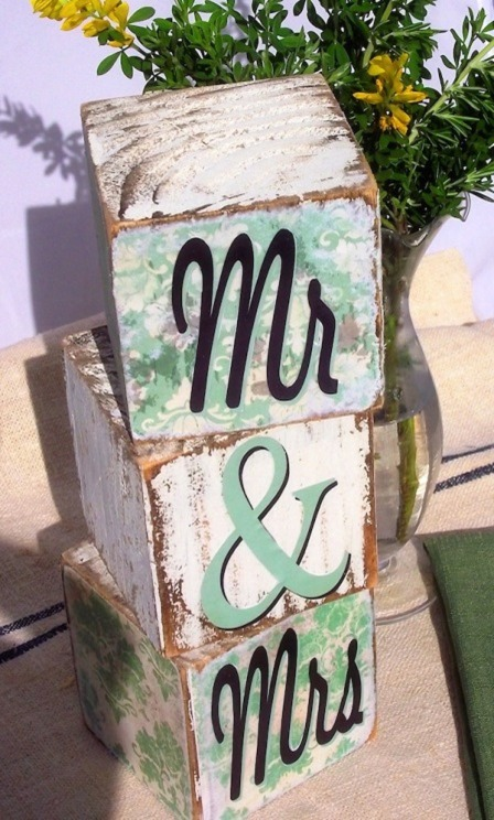 Mr and Mrs Blocks from Mod Podge Rocks