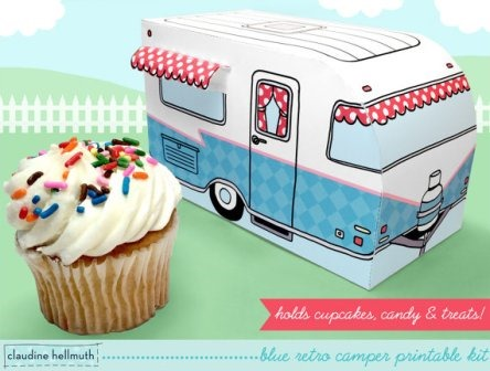 Printable Camper Cupcake Box from claudinehellmuth on Etsy