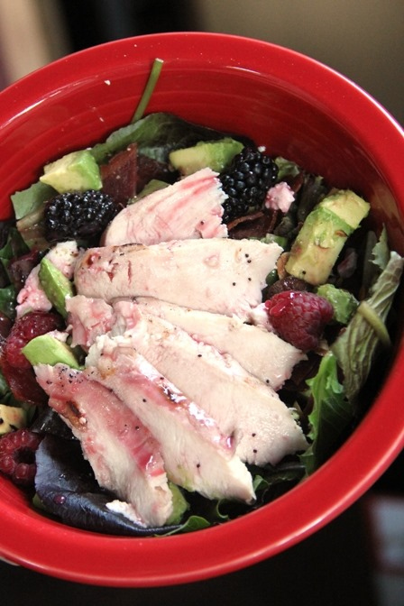 Raspberry Marinated Chicken on Raspberry Poppy Seed Salad