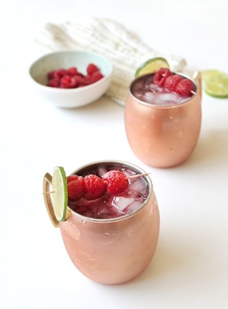 Raspberry Moscow Mules from Sugar and Charm