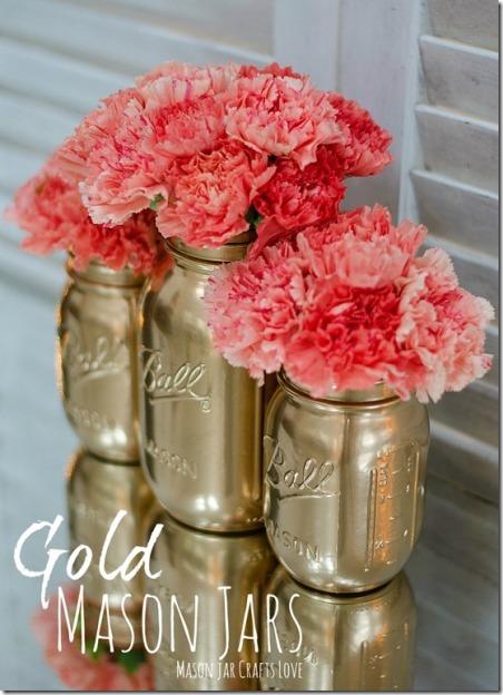梅森罐子工艺品之爱的金色梅森罐子