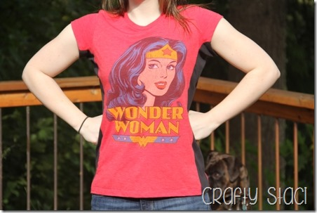 Wonder Woman Shirt Remodel - Crafty Staci 1