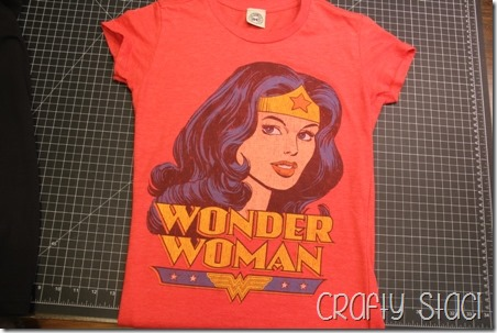 Wonder Woman Shirt Remodel - Crafty Staci 2