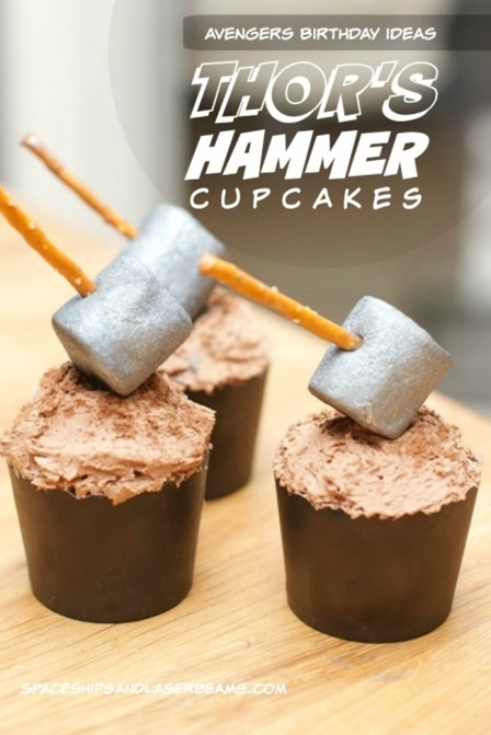 Thor's Hammer Cupcakes from Spaceships and Laser Beams