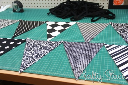 Lay out bunting in the order you'll sew it