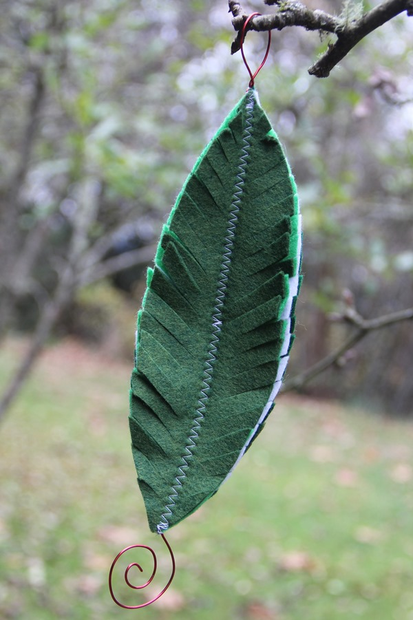 Green Felt Feather Ornament from Crafty Staci