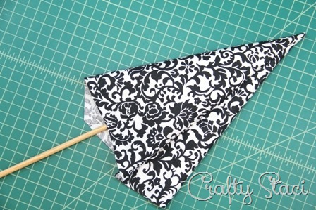 Turn bunting triangles right side out