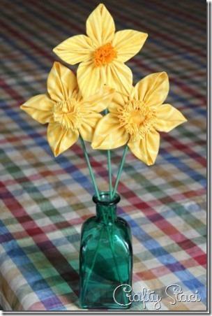 4 Fabric Daffodils