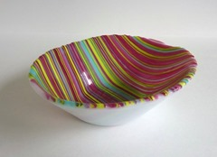 Candy Stripe Fused Glass Bowl from bprdesigns