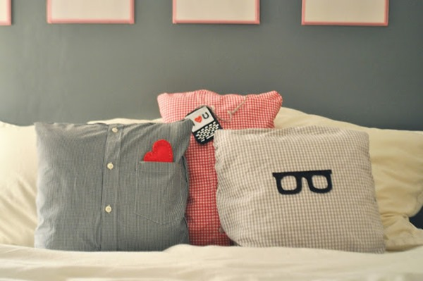 Pillows Made from Daddy's Shirts from Ducklings in a Row