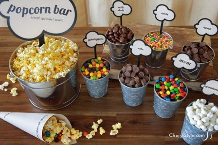 DIY Popcorn Bar from Everyday Dishes