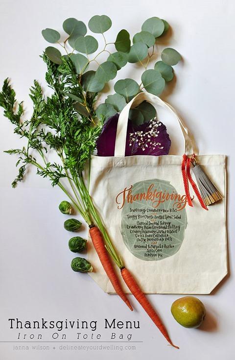 感恩节菜单熨烫手提袋从您的住所描绘