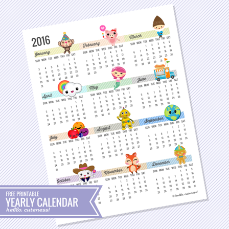 2016 Year at a Glance Calendar from Hello Cuteness