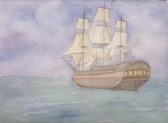 Sailing Ship Watercolor Print from AzulBlueDragon