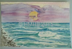 Seascape Watercolor Painting from 200CupsofLemonade