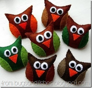 Felt Owls Brooches from Bugs and Fishes