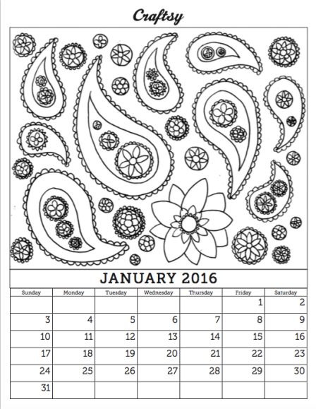 Coloring Calendar from Craftsy