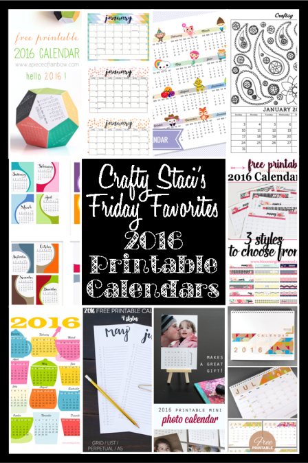 Friday Favorites - 2016 Printable Calendars