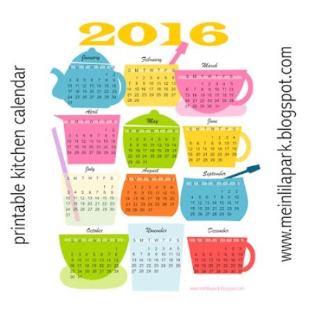 Kitchen Calendar from Mein Lila Park