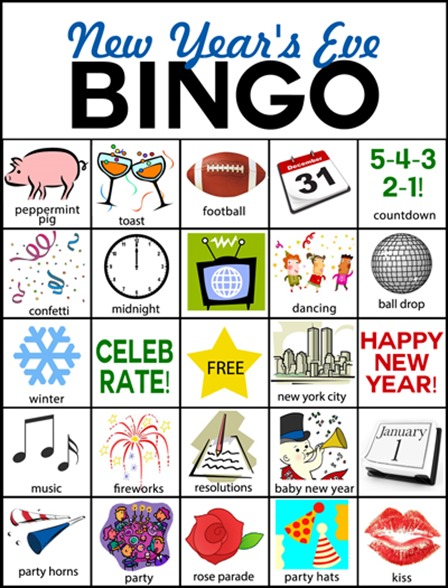 New Year's Eve Bingo from Plucky Momo