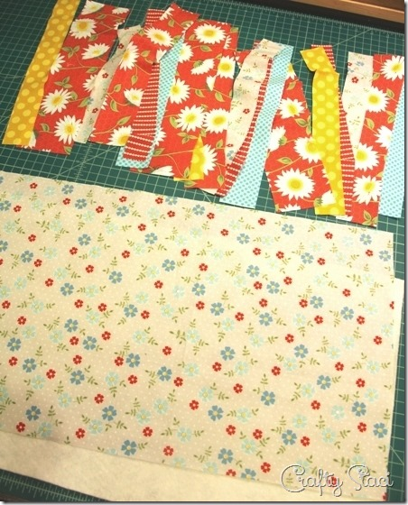 Pieces to cut for Quilt-As-You-Go Table Runner - Crafty Staci
