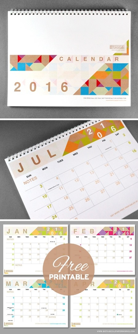 Stylish Calendars from Botanical Paperworks