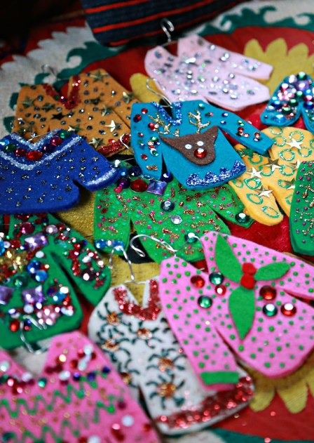 Ugly Christmas Sweater Ornaments from Aunt Peaches