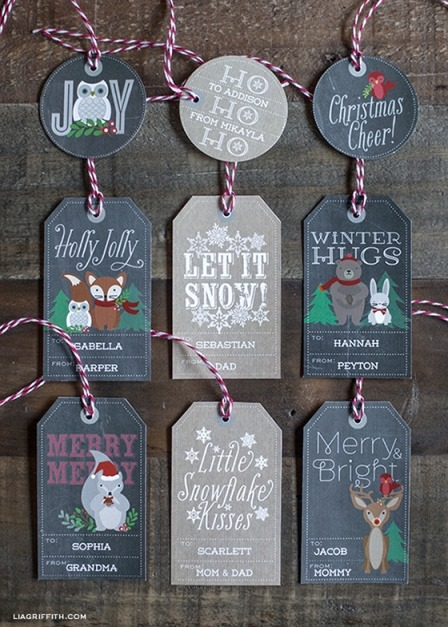 Woodland Christmas Gift Tags and Labels from Lia Griffith